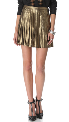 Catherine Malandrino Gold Metallic Pleated Miniskirt