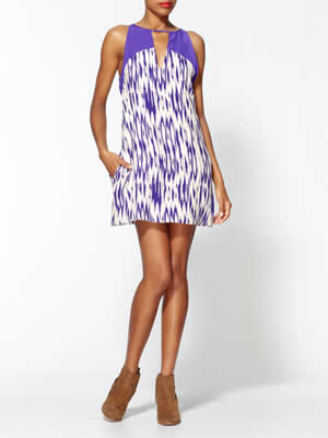 Parker Silk Keyhole Purple Dress