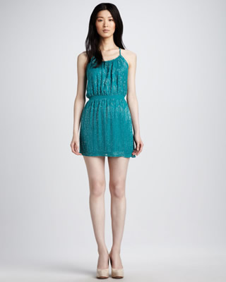 Parker Teal Racerback Sequin Dress