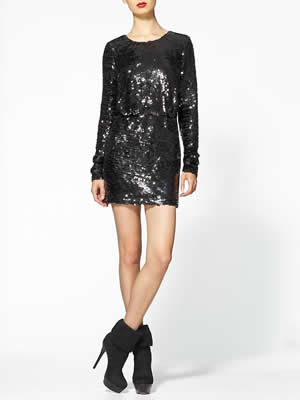 Rachel Zoe Black Selita Blouson Sequin Dress