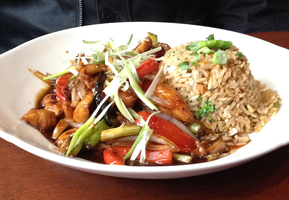 Mongolian Chicken with vegetable fried rice